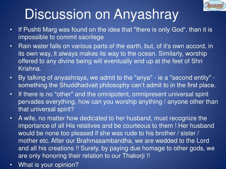 Discussion on Anyashray