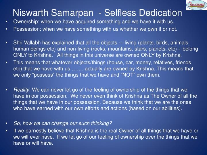 Niswarth Samarpan  - Selfless Dedication