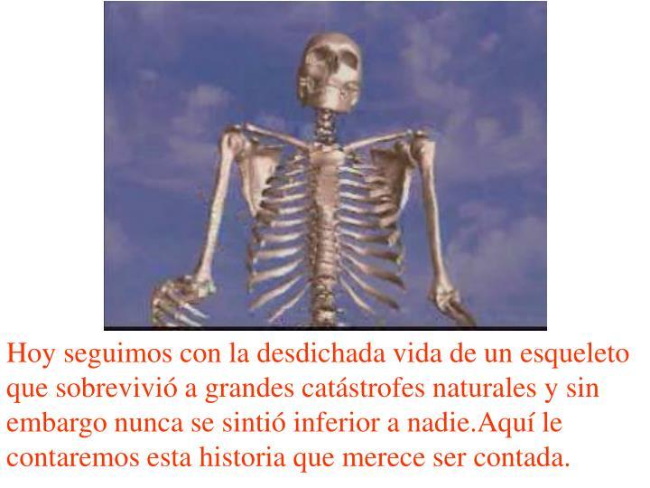 Hoy seguimos con la desdichada vida de un esqueleto que sobrevivió a grandes catástrofes naturales y sin embargo nunca se sintió inferior a nadie.Aquí le contaremos esta historia que merece ser contada.