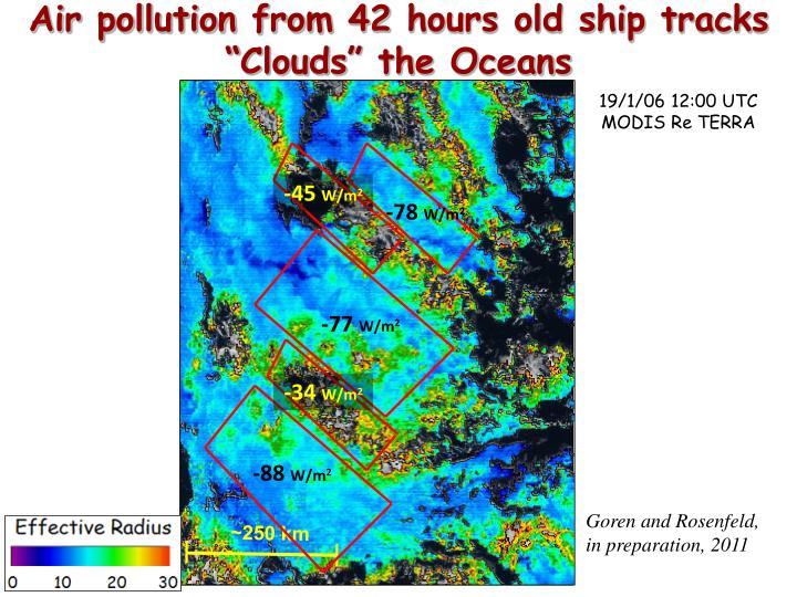 "Air pollution from 42 hours old ship tracks ""Clouds"" the Oceans"