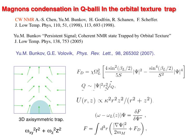 Magnons condensation in Q-balli In the orbital texture