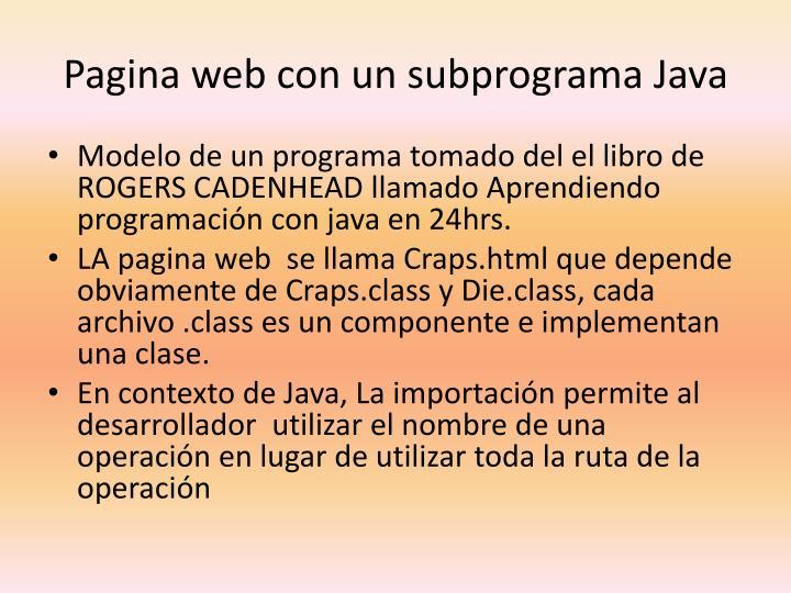 Pagina web con un subprograma Java