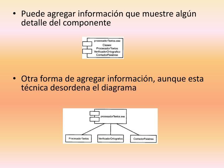 Puede agregar información que muestre algún detalle del componente