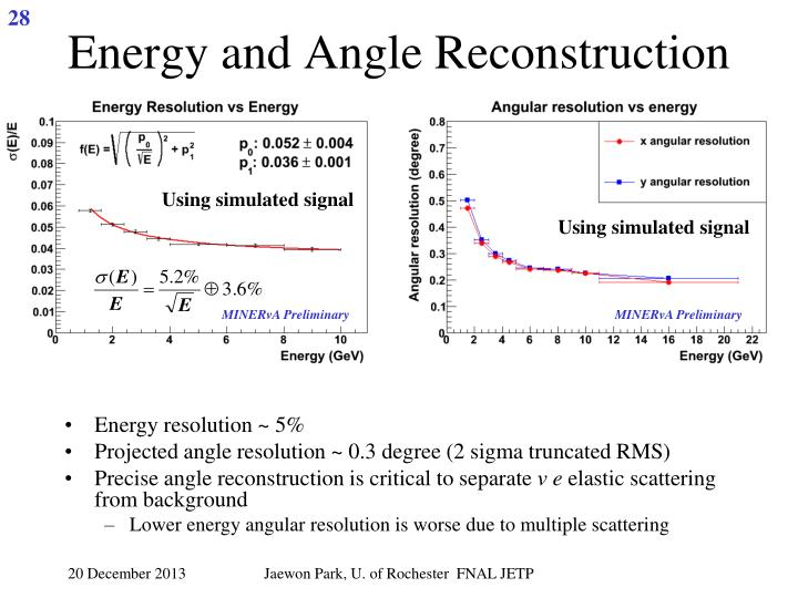 Energy and Angle Reconstruction