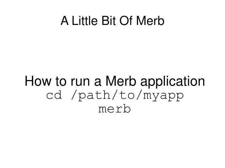 How to run a Merb application