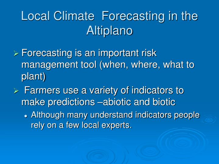 Local Climate  Forecasting in the Altiplano