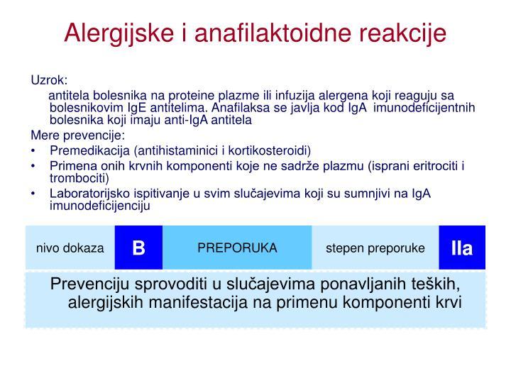 Alergijske i anafilaktoidne reakcije