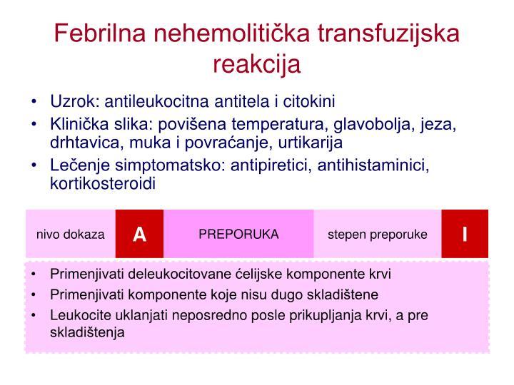 Febrilna nehemolitička transfuzijska reakcija