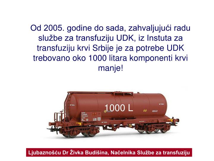 Od 2005. godine do sada, zahvaljujući radu  službe za transfuziju UDK, iz Instuta za transfuziju krvi Srbije je za potrebe UDK trebovano oko 1000 litara komponent