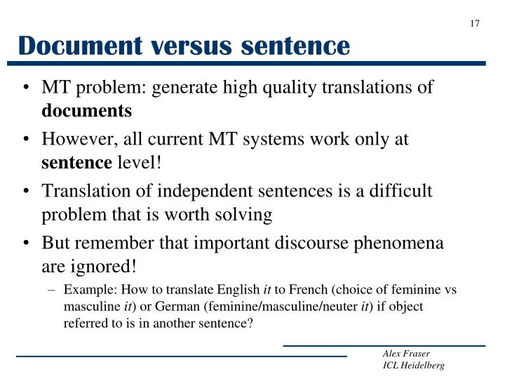 Document versus sentence