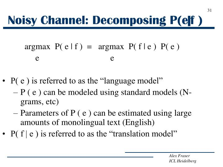 Noisy Channel: Decomposing P(e|f )
