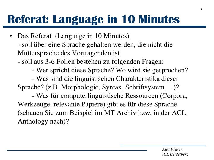 Referat: Language in 10 Minutes