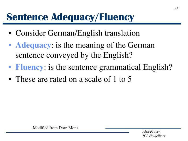 Sentence Adequacy/Fluency