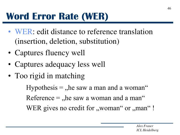 Word Error Rate (WER)