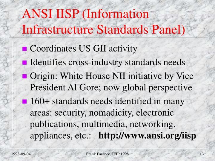 ANSI IISP (Information Infrastructure Standards Panel)