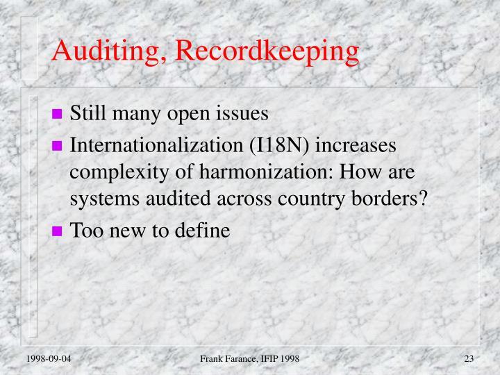 Auditing, Recordkeeping
