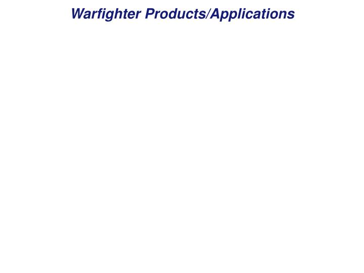 Warfighter Products/Applications