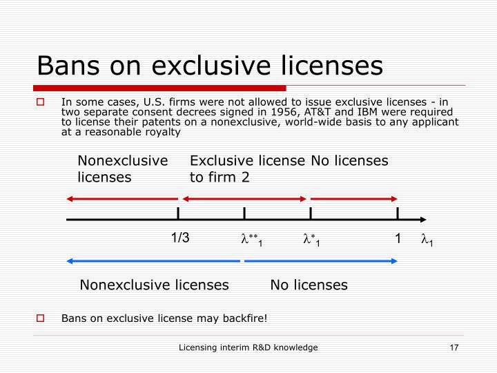 Bans on exclusive licenses