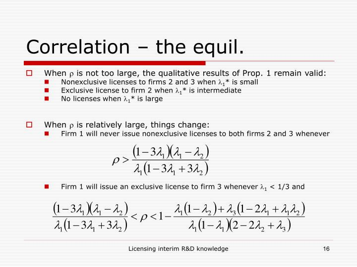 Correlation – the equil.