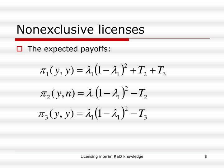 Nonexclusive licenses