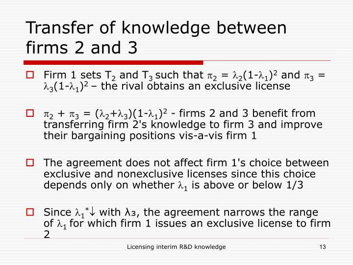 Transfer of knowledge between firms 2 and 3