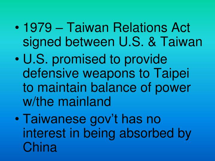 1979 – Taiwan Relations Act signed between U.S. & Taiwan