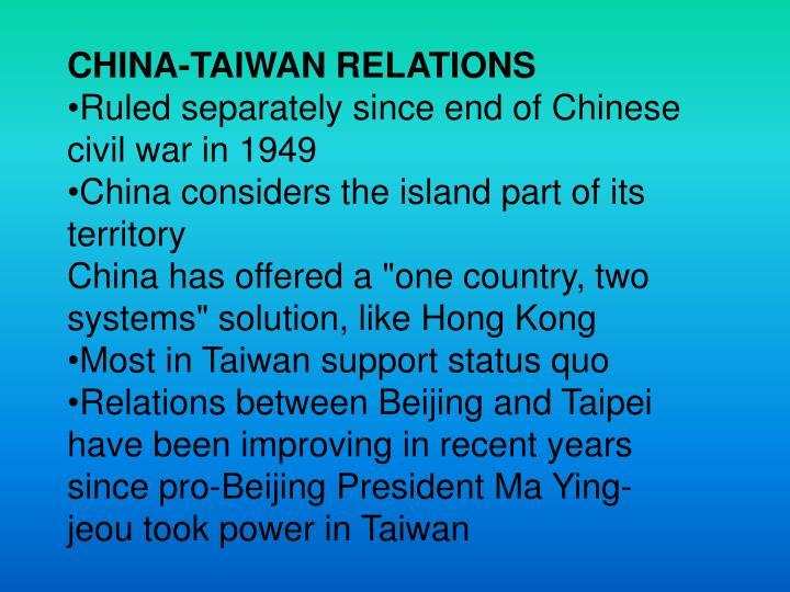 CHINA-TAIWAN RELATIONS