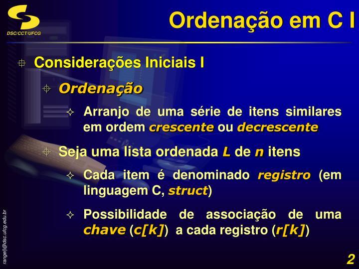 Ordenação em C I