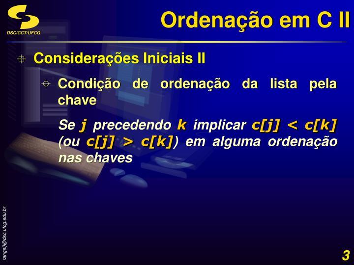 Ordenação em C II