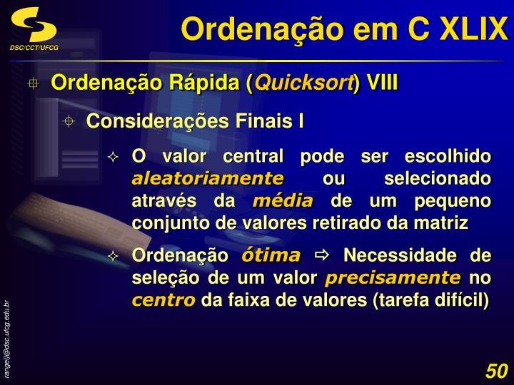 Ordenação em C XLIX