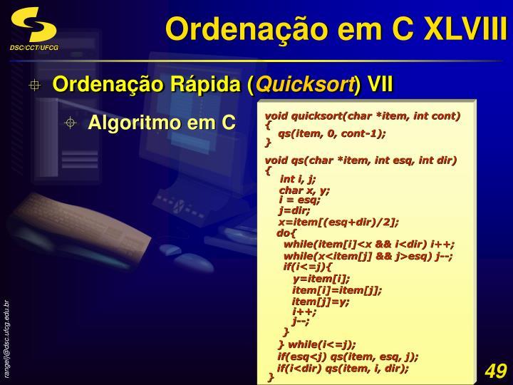 Ordenação em C XLVIII