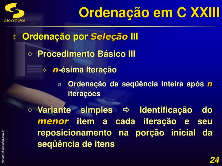 Ordenação em C XXIII