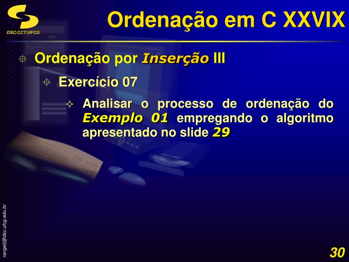 Ordenação em C XXVIX