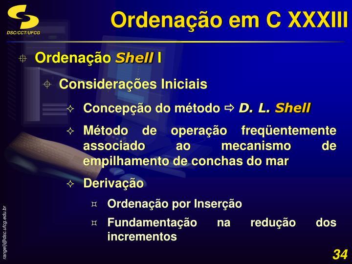 Ordenação em C XXXIII