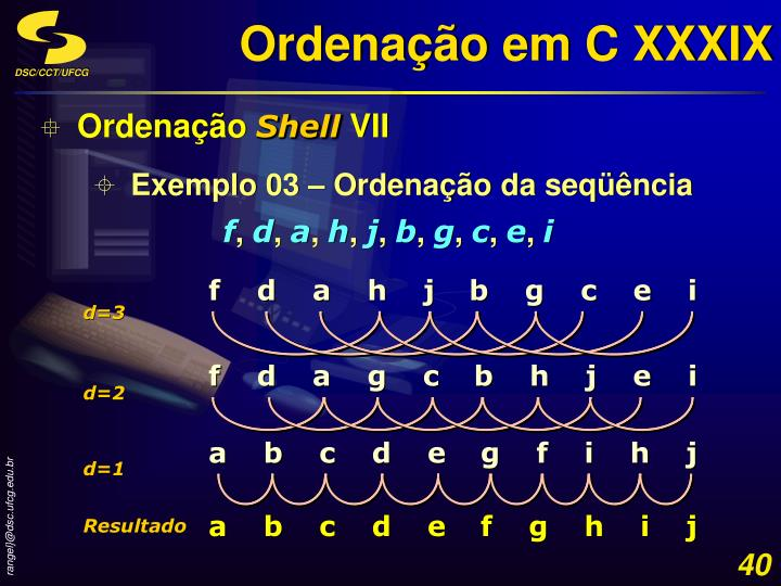 Ordenação em C XXXIX