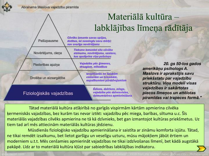 Materiālā kultūra – labklājības līmeņa rādītāja