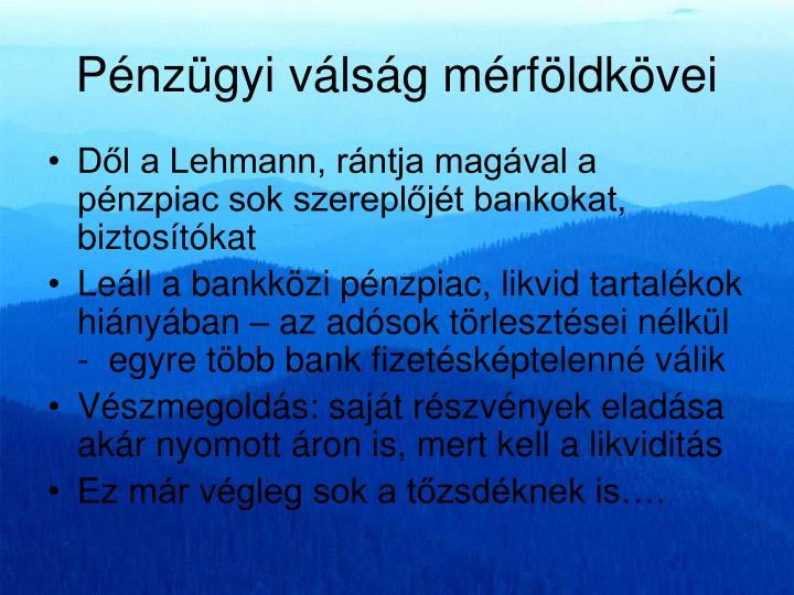Pénzügyi válság mérföldkövei
