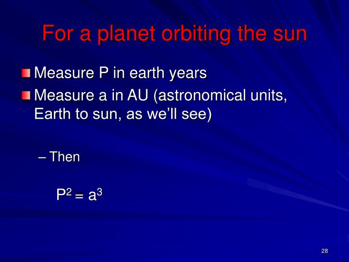 For a planet orbiting the sun