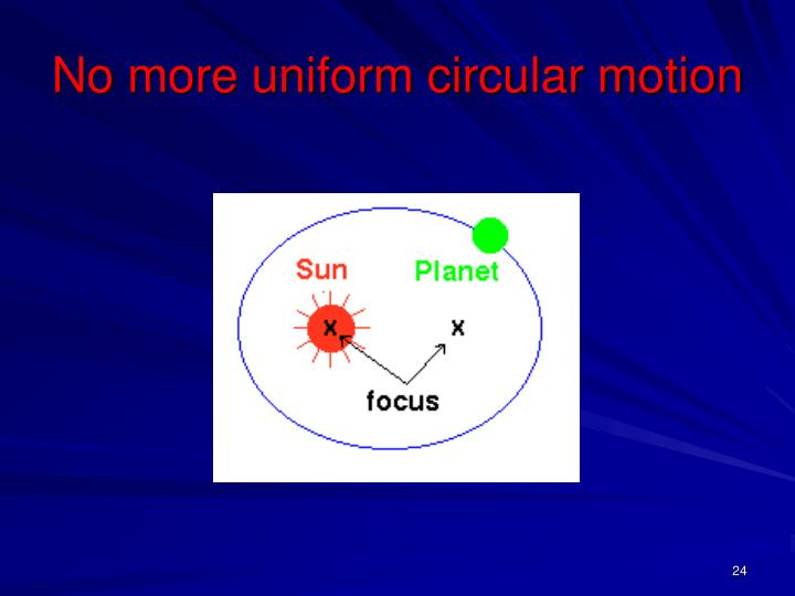 No more uniform circular motion