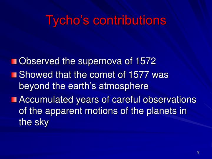 Tycho's contributions