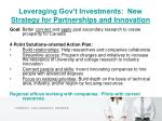 leveraging gov t investments new strategy for partnerships and innovation