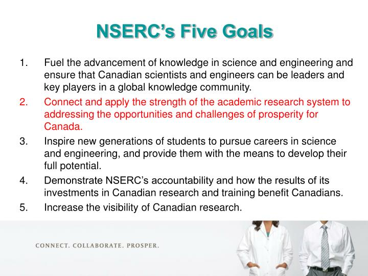 NSERC's Five Goals