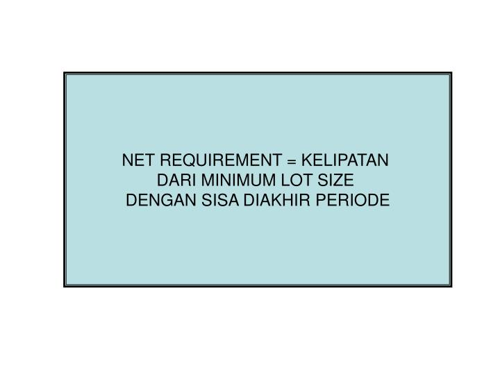 NET REQUIREMENT = KELIPATAN
