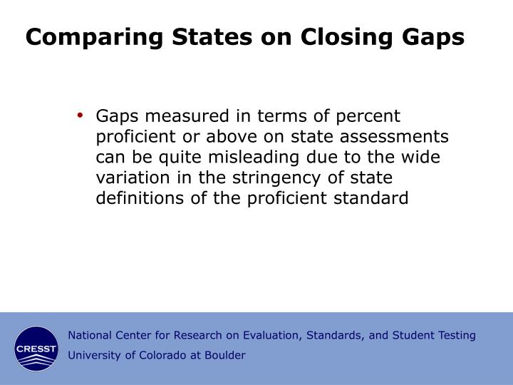 Comparing States on Closing Gaps