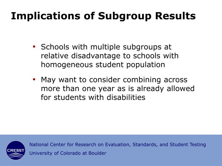Implications of Subgroup Results