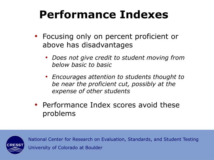 Performance Indexes