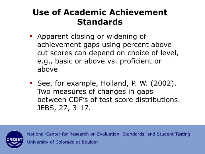 Use of Academic Achievement Standards