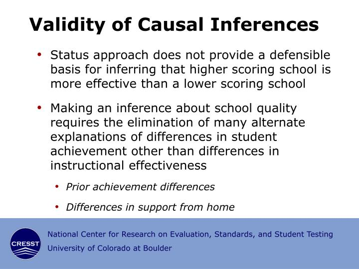 Validity of Causal Inferences