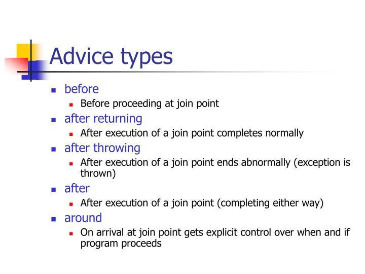 Advice types