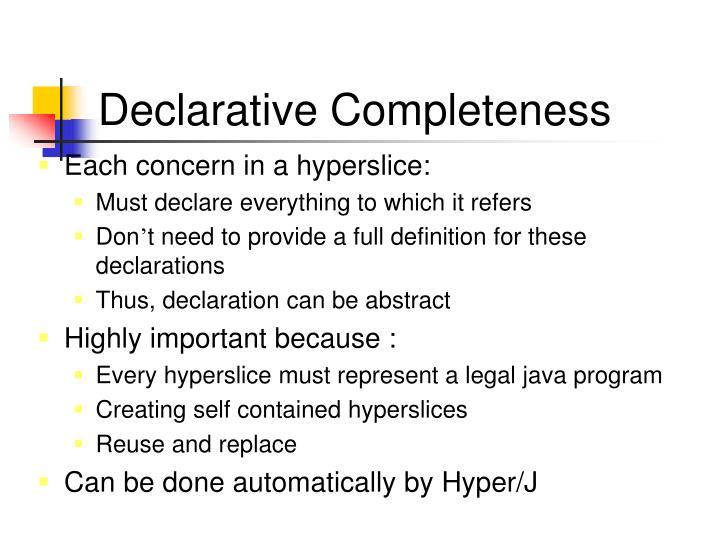 Declarative Completeness